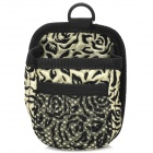 Convenient Fashionable Rose Pattern Hanging Type Storage Pouch Bag - Black + Cream