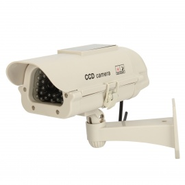 Solar Power Waterproof Realistic Dummy Surveillance Security Camera w/ 1-Red LED - White