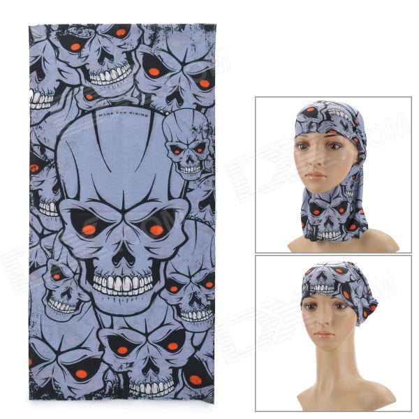 Ryder Cool Skull Patterns Multifunction Outdoor Cycling Polyester Head Scarf - Grey