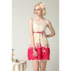 Stereo Flowers Vest Dress - Beige + Deep Pink (Size-M)