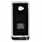 Portable 3800mAh External Battery Back Case w/ Stand for HTC One / M7 - White + Black