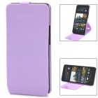 Stylish 360 Degree Rotating Protective PC + PVC Case w/ Holder for HTC ONE / M7 / 801E - Purple
