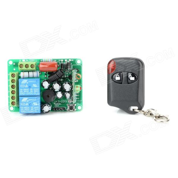 AFSC02 2-Way Wireless Remote Power Switch w/ Remote Controller  - Green (AC 110~220V) - DXSwitches &amp; Adapters<br>Brand N/A Model AFSC02 Quantity 1 Color Green Material FR4 Applications Suitable for light burglar alarm remote control Electric Windows lifting appliance etc. Each way max. burden 10A current Power Range 250VAC-30VDC Max. Voltage 250 V Max. Current 10 A Operating Temperature 20~80C Keywords switch Others Remote controller powered by 1 x 27A battery; input voltage: 110-220V; output voltage: 30-250V; Coding finished can use directlyl Packing List 1 x Power switch 1 x Remote controller 1 x 27A battery<br>