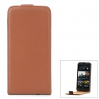 Protective Top Flip Open Leather Case for HTC One M7 - Brown + Black