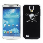Protective Skull Pattern Plastic Back Case w/ Flash LED Light for Samsung Galaxy S4 / i9500 - Black