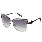 LANGTEMENG UV400 Protection Plastic + High-Nickel Alloy Frame Resin Lens Sunglasses - Black