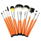 Convenient Makeup Brush Tool Set w/ Carrying Bag - Orange + Silver
