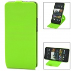 Stylish 360 Degree Rotating Protective PC + PVC Case w/ Holder for HTC ONE / M7 / 801E - Green