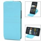 Stylish 360 Degree Rotating Protective PC + PVC Case w/ Holder for HTC ONE / M7 / 801E - Blue