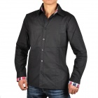 Slim Cotton Men's Long Sleeves Shirt - Black (Size-XL)