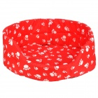 Paw Pattern Thicken Stoff + Cotton Sponge Bed for Pets - Red