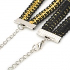 Stylish Collar Style Fabric + Rhinestones Decorative Necklace for Women - Black + Golden