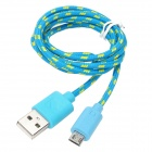 USB Male to Micro USB 5-Pin Male Nylon Mesh Charging Data Cable for Samsung - Blue + Yellow (102 CM)