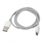 USB Male to Micro USB 5-Pin Male Nylon Mesh Charging Data Cable for Samsung - White + Black (102 CM)
