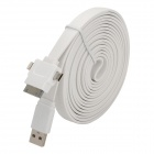 USB-Stecker auf Micro USB / Apple-30pin / 8pin Lighting Male Wohnung Datenkabel - White (300cm)
