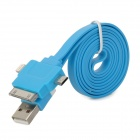 USB Male to Micro USB / Apple 30pin / 8pin Lighting Male Flat Data Cable - Blue (100cm)