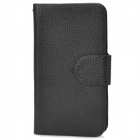 "Universal Litchi Pattern PU Leather Case w/ Strap for Cellphones Within 4.0"" - Black"