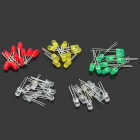 5mm LED White + Blue + Red + Yellow + Green Light Emitting Diodes - Multicolored (5 x 10 PCS)