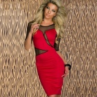 LC2755-3 Sexy Decolletage Short-Sleeves Dress w/ Mesh for Women - Red + Black (Size-L)