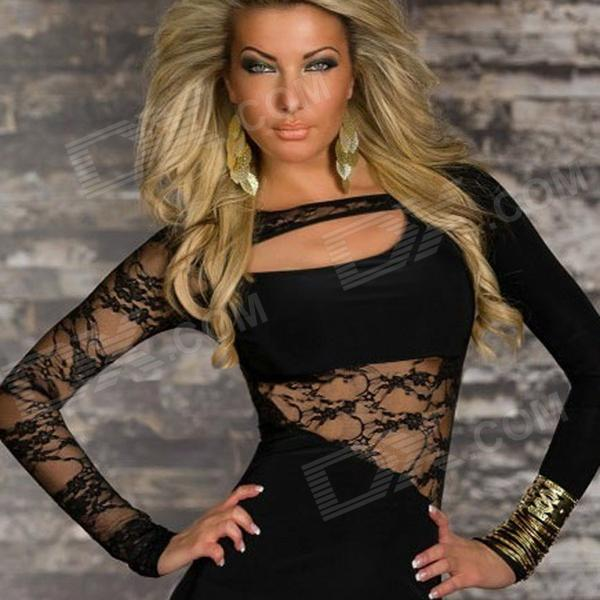 LC2773-2 Personalized Sexy Lace Dress w/ Long Sleeve for Women - Black (Size-L)