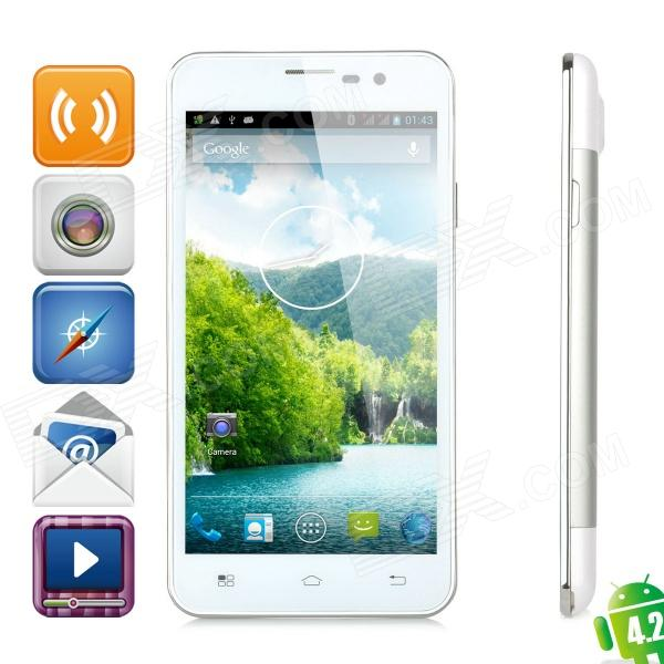 "F6770 Quad-Core Android 4.2 WCDMA Bar Phone w/ 5.0"" Screen, Wi-Fi and GPS - White + Silver"