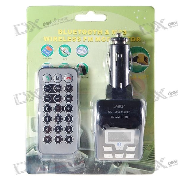 1.0 LCD A2DP Bluetooth MP3 Player FM Transmitter with Caller ID Handsfree (SD/MMC/USB/2.5mm)