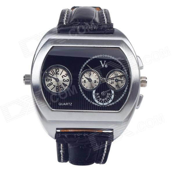 V6 Super Speed V007 Fashion PU Leather Band Quartz Men's Wrist Watch - Black + Silver (1 x LR626) v6 fashion hour marks round dial quartz pu band wrist watch black orange