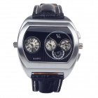 V6 Super Speed V007 Fashion PU Leather Band Quartz Men's Wrist Watch - Black + Silver (1 x LR626)
