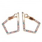 18K Gold-Plated + Rhinestone Fashionable Women's Earrings - Multicolored (Pair)