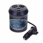 WF-0309 1-to-2 Car Cigarette Lighter Power Splitter Adapter w/ Dual-USB Output - Black (DC 12 / 24V)