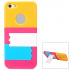Colorful Protective Plastic Back Case w/ Stand for Iphone 5 - Yellow + Deep Pink + White + Blue