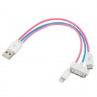 USB to 8-Pin Lightning / 30-Pin / Micro USB Charging Cable for iPhone / Samsung / HTC - Multicolor