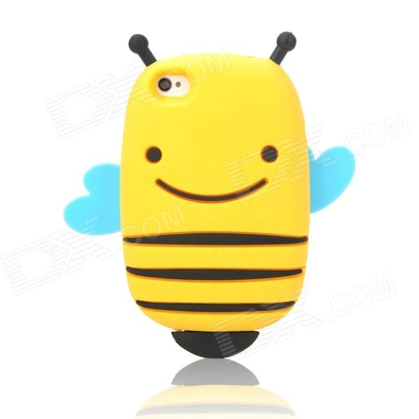 Cute Smile Bee Style Protective Silicone Back Case for Iphone 4 / 4S - Yellow + Black cute smile face expression round erasers yellow 4 piece random style