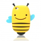 Cute Smile Bee Style Protective Silicone Back Case for Iphone 4 / 4S - Yellow + Black