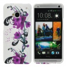 Flowers Style Protective Soft Silicone Back Case for HTC One M7 - Purple + White + Black