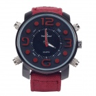 SuperSpeed V0165 Linen Band Double Quartz Analog Men's Wrist Watch - Maroon + Black (1 x LR62)