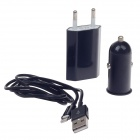 Car Charger + EU Charger Adapter + Lightning 8-Pin Male to USB 2.0 Male Cable for iPhone 5 - Black