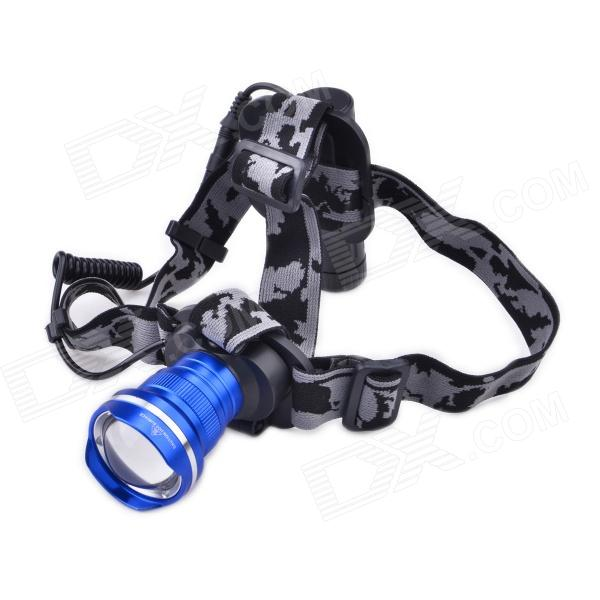 LZZ-186 600lm 3-Mode White Zooming Headlight w/ Cree XM-L U2, Battery Carrier - Blue (1 x 18650)