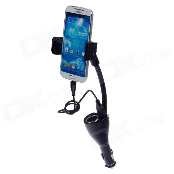THFC010 Multifunctional Spring Car Holder / Dual-USB Car Charger for Smartphone - Black (12~24V)