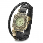 Women's Retro Resin Dial Zinc Alloy Case Cow Leather Band Quartz Analog Wrist Watch - Black + Bronze