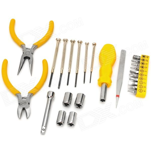 25-in-1 Portable Multifunction Household PE + Zinc Alloy Basic Tool Kit - Yellow + Silver compact 3 in 1 alloy compass opener keychain kit tool
