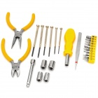 25-in-1 Portable Multifunction Household PE + Zinc Alloy Basic Tool Kit - Yellow + Silver
