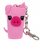 Cute Pig Style Emulsion / Liquid Container Bottle Case w/ LED Light / Keychain - Pink (1 x CR1632)