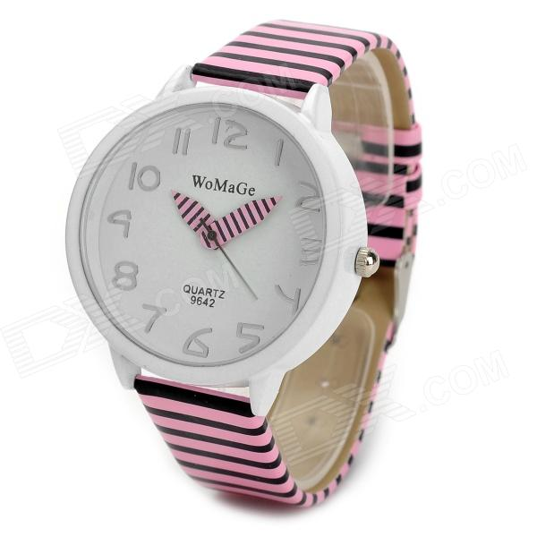 Women's Acrylic Dial Zinc Alloy Case Stripe PU Band Quartz Analog Wrist Watch - Pink + Black + White