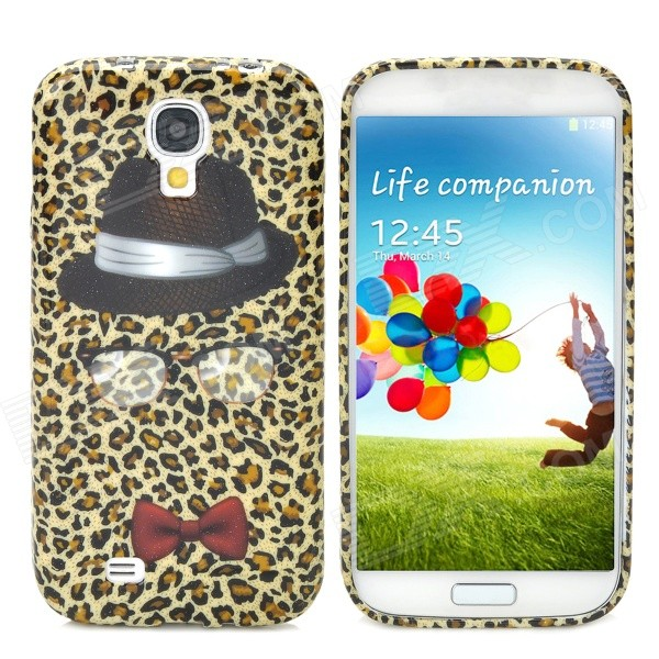 Fashion Leopard Hat Pattern Back Case for Samsung Galaxy S4 i9500 - Black + Red cool basketball skin pattern silicone protective back case for samsung galaxy s4 i9500 black red
