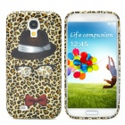 Fashion Leopard Hat Pattern Back Case for Samsung Galaxy S4 i9500 - Black + Red
