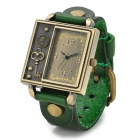 Women's Square Acrylic Dial Zinc Alloy Split Leather Band Quartz Analog Wrist Watch - Green + Bronze