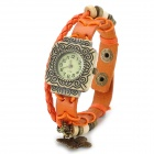 Women's Resin Dial Zinc Alloy Case Split Leather Band Quartz Analog Wrist Watch - Orange + Bronze