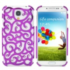 Fashion Hollow Flower Pattern Crystal Back Case for Samsung Galaxy S4 - Purple