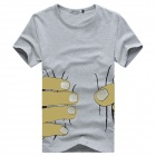 Fingers Pattern Round Neck Men's Short Sleeves Cotton T-Shirt - Grey (Size XL)